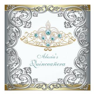Tiara de plata Quinceanera del trullo del oro Invitación 13,3 Cm X 13,3cm