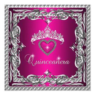 Tiara de plata rosada Quinceanera décimo quinto Invitación 13,3 Cm X 13,3cm