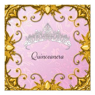 Tiara del blanco del oro del rosa de la fiesta de invitación 13,3 cm x 13,3cm
