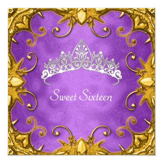 Tiara púrpura del blanco del oro de la fiesta de invitación 13,3 cm x 13,3cm