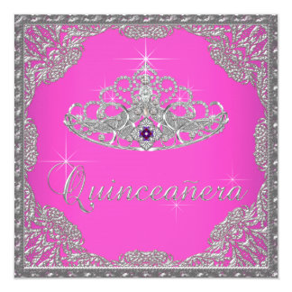 Tiara Quinceanera de las rosas fuertes Invitación 13,3 Cm X 13,3cm