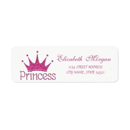 Tiara reluciente femenina linda, etiqueta de la etiqueta de remitente