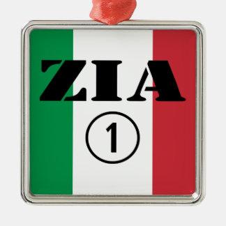 Tías italianas: Uno de Zia Numero Adorno Cuadrado Plateado