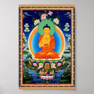 Tibetano Thangka Prabhutaratna Buda Póster