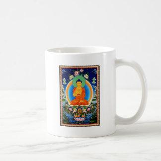 Tibetano Thangka Prabhutaratna Buda Taza De Café