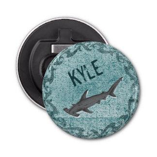 Tiburón - cerveza personalizada abrebotellas redondo