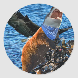 tiburón del oso pegatina redonda