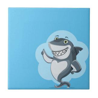 Tiburón feliz azulejo de cerámica