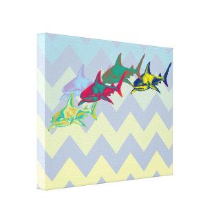 tiburón fresco en galón impresiones en lona estiradas