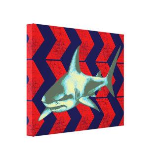 tiburón fresco y flechas rojas impresiones en lienzo estiradas