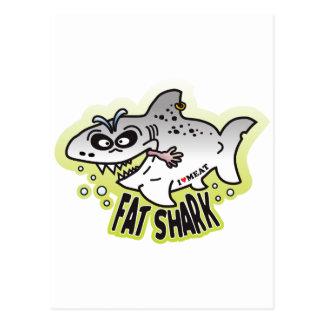 Tiburón gordo tarjetas postales
