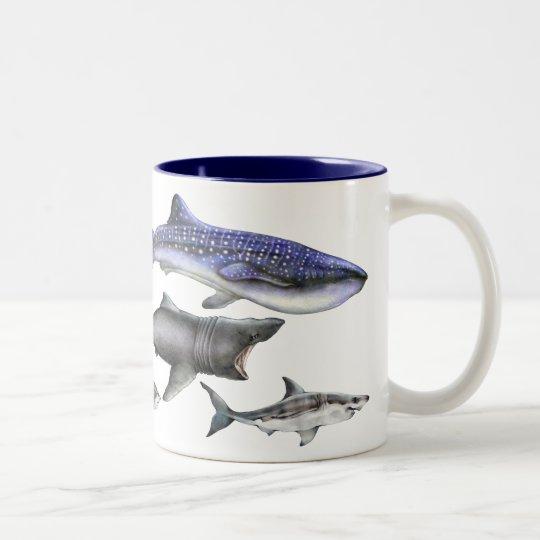 Tiburones del mundo taza de café de dos colores