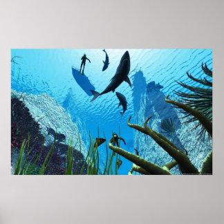 TIBURONES del tiburón Póster