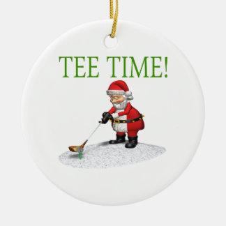 Tiempo de la camiseta adorno navideño redondo de cerámica