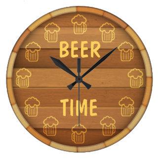 Tiempo de la cerveza reloj redondo grande