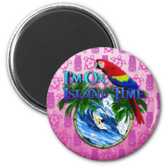 Tiempo de la isla que practica surf Tiki rosado Iman De Nevera
