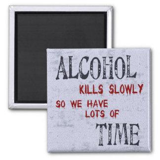 Tiempo del alcohol imán cuadrado