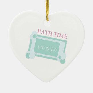 Tiempo del baño adorno de cerámica en forma de corazón
