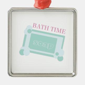 Tiempo del baño adorno cuadrado plateado