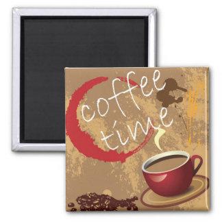 Tiempo del café imán cuadrado