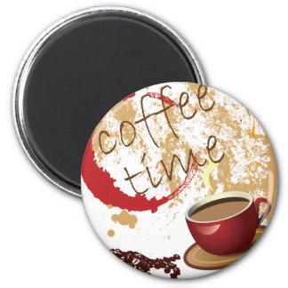 Tiempo del café imán redondo 5 cm