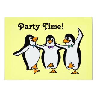 ¡Tiempo del fiesta de los pingüinos del baile de Invitación 12,7 X 17,8 Cm