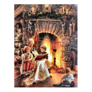 Tiempo del guión con la abuela en el navidad postal