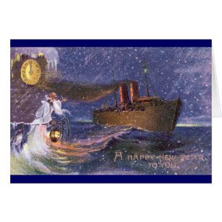 Tiempo del padre y Año Nuevo del vintage del buque Tarjeta De Felicitación