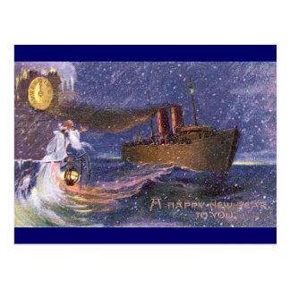 Tiempo del padre y Año Nuevo del vintage del buque Postal