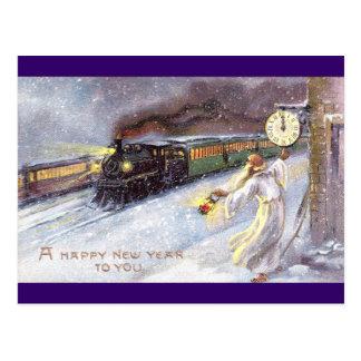 Tiempo del padre y Año Nuevo del vintage del tren Postal