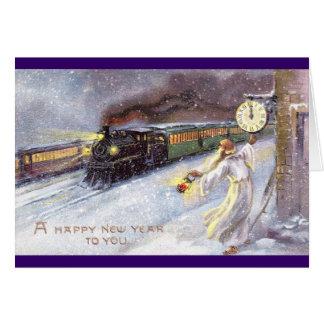 Tiempo del padre y Año Nuevo del vintage del tren Tarjeta De Felicitación