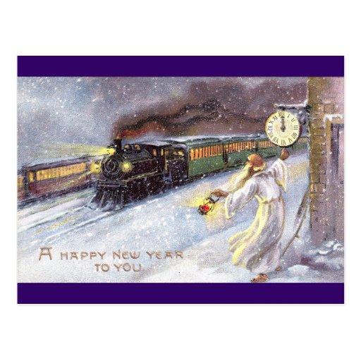 Tiempo del padre y Año Nuevo del vintage del tren Tarjeta Postal