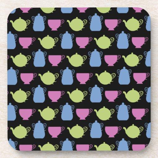 tiempo del té: potes y tazas del té posavaso