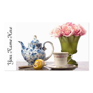 Tiempo del té tarjetas de visita