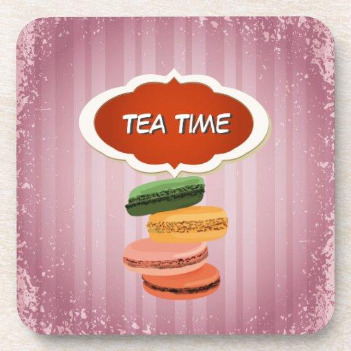 Tiempo francés del té de los macarrones de Macaron Posavasos De Bebida