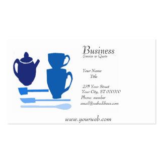 Tiempo inglés del té de la cocina original azul tarjetas de visita