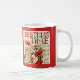 Tiempo Papá Noel del navidad del vintage Taza De Café