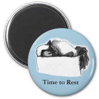 Tiempo redondo del Imán-Gato para descansar, azul Imán