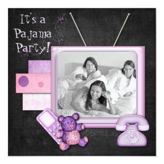 Tiempos de la diversión de la fiesta de pijamas invitación 13,3 cm x 13,3cm