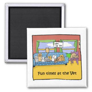 Tiempos de la diversión en el veterinario imán cuadrado