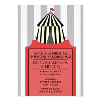 Tienda de circo negra y blanca con cumpleaños rojo