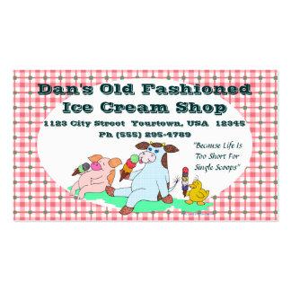 Tienda de helado pasada de moda tarjetas de visita