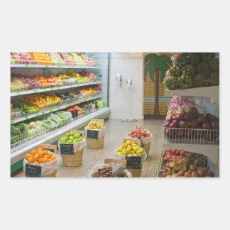 Tienda de la fruta pegatina rectangular