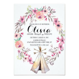 Tienda de los indios norteamericanos floral de la invitación 12,7 x 17,8 cm