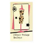 Tienda del vintage/boutique - forma del vestido tarjetas de visita
