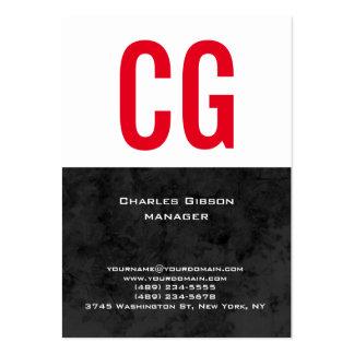 Tienda el monograma rojo blanco negro simple llano tarjetas de visita grandes