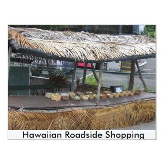 Tienda hawaiana del borde de la carretera invitación 10,8 x 13,9 cm