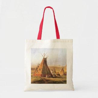 Tiendas de los indios norteamericanos en el llano bolsas lienzo