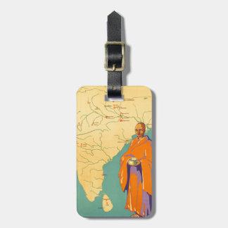 Tierra de la India del viaje de señor Buda Vintage Etiqueta De Equipaje