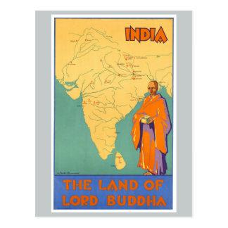 Tierra de la India del viaje de señor Buda Vintage Postal